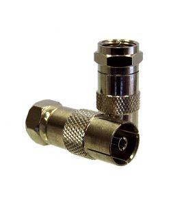 Adaptor: F-type Plug (Male) to PAL Socket (Female)