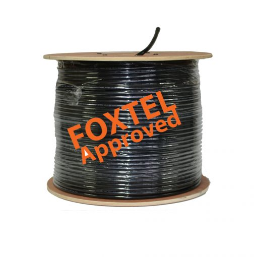 """RG-11 QUAD Shield Coaxial Cable FLOODED (Black) Drum 305M """"FoxApp. F30060"""""""
