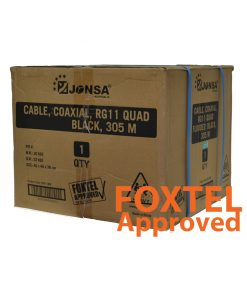 "RG-11 QUAD Shield Coaxial Cable (Black) W/Drum 305M - ""Foxtel Approved F10175"""