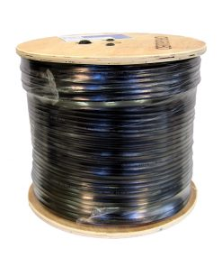 "Coaxial Cable Rg-6 QUAD Shield Siamese (Black) - W/Drum 152M - ""Foxtel App. F30432"""