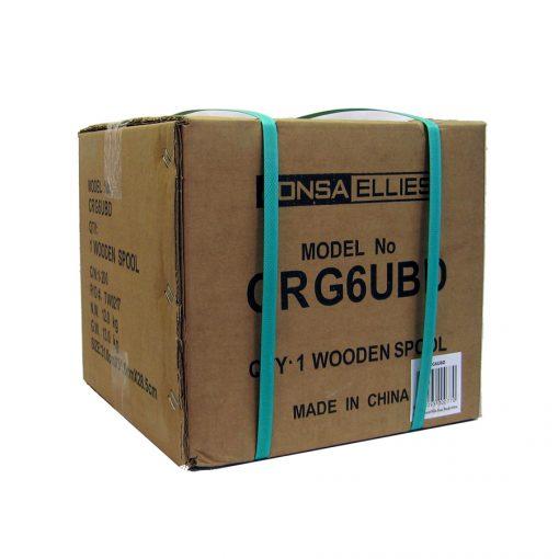 "Coaxial Cable Rg-6 TRI Shield Siamese (Black) - Wooden Drum 152M - ""Foxtel App. F30435"""
