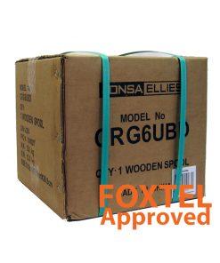 "Coaxial Cable Rg-6 QUAD Shield (Black) - Wooden Drum 305M - ""Foxtel App. F10129"""