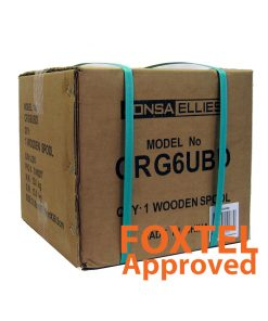 "Coaxial Cable Rg-6 TRI Shield FLOODED (Black) - Wooden Drum 305M - ""Foxtel App. F30433"""