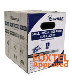 "Coaxial Cable Rg-6 QUAD Shield (Black) - Reel Box 305M - ""Foxtel App. F10129"""