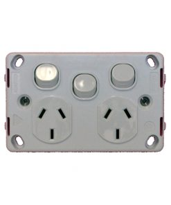 Double GPO / Single Switch - Power Outlet / Point - Clipsal C2000 Series Styled 10A 240VAC